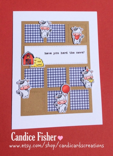 cow collage card red
