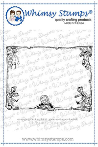 WS zombie frame background rubber stamp