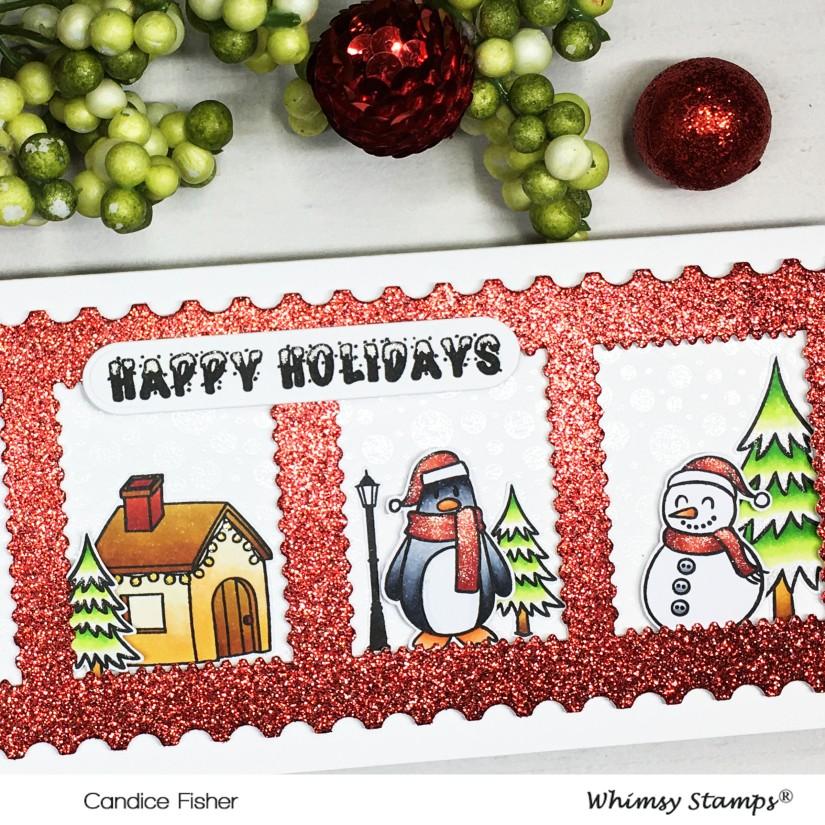 1201-Christmas Stamp slimline close up