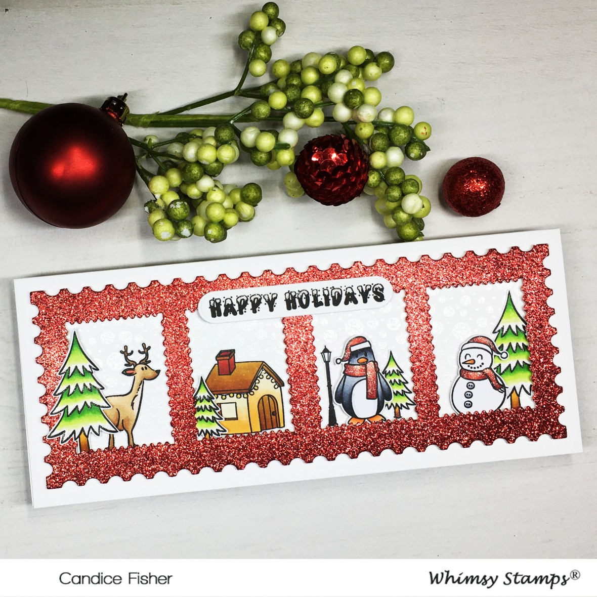 1201-Christmas Stamp slimline side