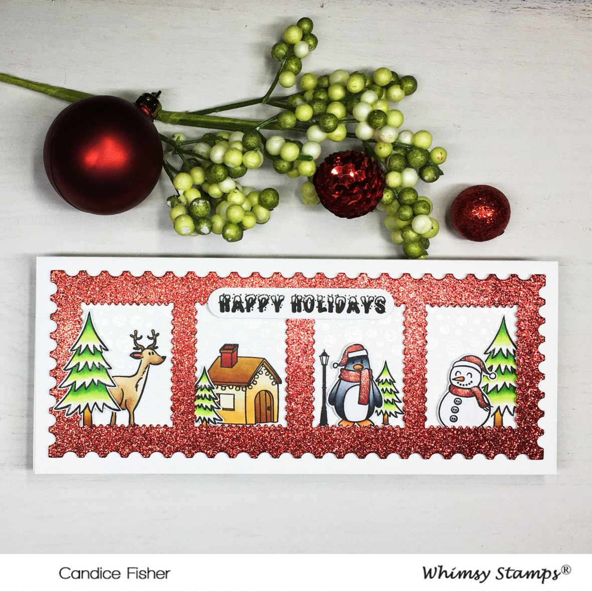 1201-Christmas Stamp slimline