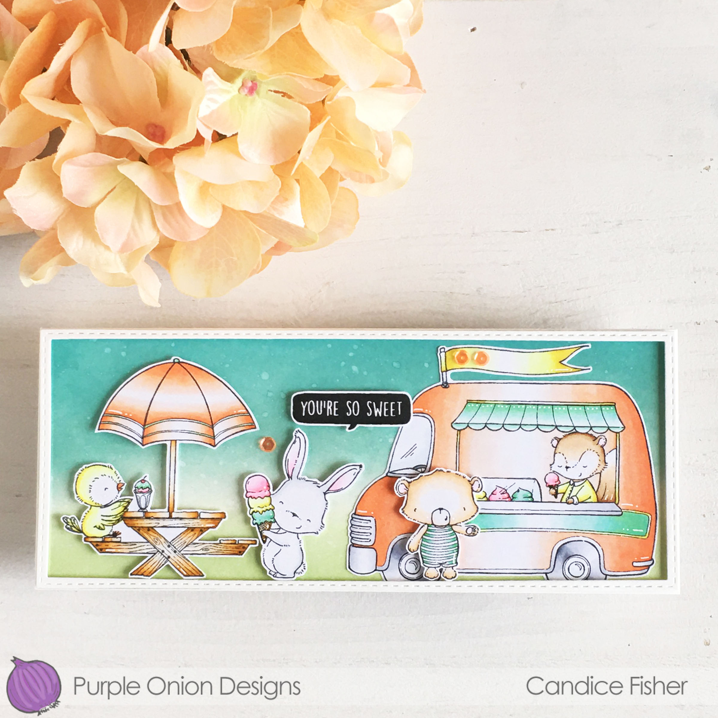 Candice-ice cream truck, Juliet, Marigold, Sandy